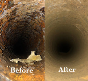 pipe before and after descaling. Pipe descaling